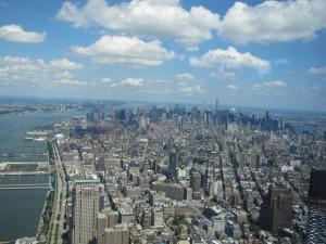 Blick über Midtown nach Uptown mit Hudson River