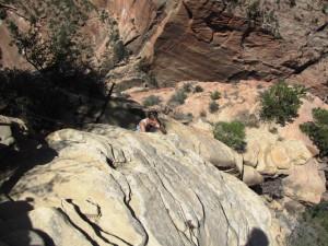 Claudia beim Abstieg